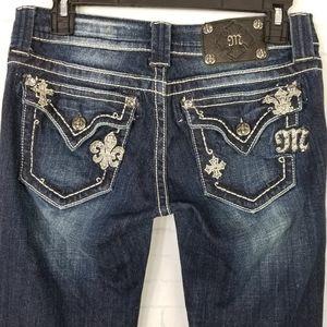 Miss Me Jeans Embellished Flap Pockets Boot Cut 28
